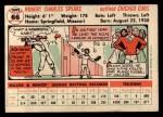 1956 Topps #66  Bob Speake  Back Thumbnail