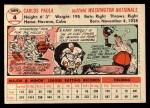 1956 Topps #4  Carlos Paula  Back Thumbnail
