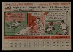 1956 Topps #103 GRY Willie Miranda  Back Thumbnail