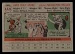 1956 Topps #114  Jim Owens  Back Thumbnail