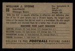 1952 Bowman Small #88  Billy Stone  Back Thumbnail