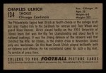 1952 Bowman Small #134  Chuck Ulrich  Back Thumbnail