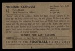 1952 Bowman Small #42  Norm Standlee  Back Thumbnail