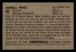 1952 Bowman Small #49  Jerrell Price  Back Thumbnail