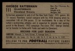 1952 Bowman Small #111  George Ratterman  Back Thumbnail
