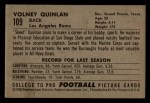 1952 Bowman Small #109  Volney Quinlan  Back Thumbnail