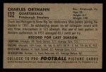 1952 Bowman Small #132  Chuck Ortmann  Back Thumbnail