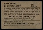 1952 Bowman Small #81  John Kastan  Back Thumbnail