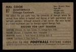 1952 Bowman Small #87  Mal Cook  Back Thumbnail