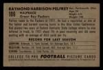1952 Bowman Small #106  Raymond Pelfrey  Back Thumbnail