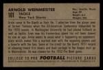 1952 Bowman Small #101  Arnold Weinmeister  Back Thumbnail