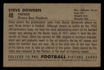 1952 Bowman Small #40  Steve Dowden  Back Thumbnail