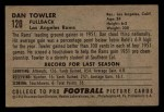 1952 Bowman Small #120  Dan Towler  Back Thumbnail