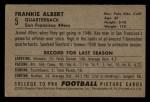 1952 Bowman Small #5  Frankie Albert  Back Thumbnail