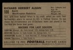 1952 Bowman Small #100  Dick Alban  Back Thumbnail
