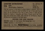1952 Bowman Small #124  Chet Ostrowski  Back Thumbnail