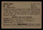 1952 Bowman Small #15  Leon Hart  Back Thumbnail