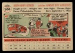 1956 Topps #106  Joe Astroth  Back Thumbnail