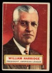 1956 Topps #1  William Harridge  Front Thumbnail