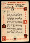 1956 Topps #1  William Harridge  Back Thumbnail