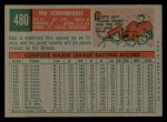 1959 Topps #480  Red Schoendienst  Back Thumbnail