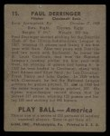 1939 Play Ball #15  Paul Derringer  Back Thumbnail