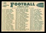 1960 Topps #132   Redskins Team Checklist Back Thumbnail