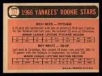 1966 Topps #234   -  Roy White / Rich Beck Yankees Rookies Back Thumbnail