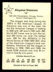 1961 Golden Press #20  Al Simmons     Back Thumbnail