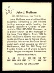 1961 Golden Press #23  John McGraw  Back Thumbnail