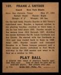 1940 Play Ball #159  Poncho Snyder  Back Thumbnail
