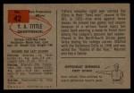 1954 Bowman #42  Y.A. Tittle  Back Thumbnail