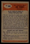 1955 Bowman #44  Joe Perry  Back Thumbnail