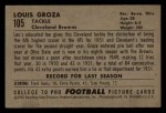 1952 Bowman Small #105  Lou Groza  Back Thumbnail