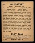 1940 Play Ball #82  Hank Gowdy  Back Thumbnail