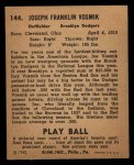 1940 Play Ball #144  Joe Vosmik  Back Thumbnail