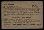 1952 Bowman Small #30  Sammy Baugh  Back Thumbnail