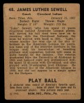1940 Play Ball #48  Luke Sewell  Back Thumbnail