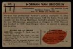 1953 Bowman #11  Norm Van Brocklin  Back Thumbnail