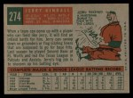 1959 Topps #274  Jerry Kindall  Back Thumbnail