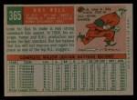 1959 Topps #365  Gus Bell  Back Thumbnail