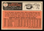 1966 Topps #434  Willie Kirkland  Back Thumbnail