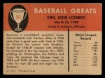 1961 Fleer #121  Dutch Leonard  Back Thumbnail