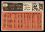 1966 Topps #73 ^COR^ Jerry Zimmerman   Back Thumbnail