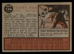 1962 Topps #196 NRM Terry Fox  Back Thumbnail