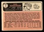 1966 Topps #39  Ken Henderson  Back Thumbnail
