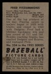 1952 Bowman #234  Fred Fitzsimmons  Back Thumbnail