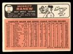 1966 Topps #62 xSLD Merritt Ranew  Back Thumbnail