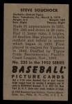 1952 Bowman #235  Steve Souchock  Back Thumbnail