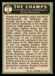 1967 Topps #1   -  Frank Robinson / Brooks Robinson / Hank Bauer The Champs Back Thumbnail